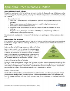 April 2014 Green Initiatives Update